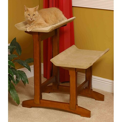 Craftsman Series Double Seat Wooden Cat Perch