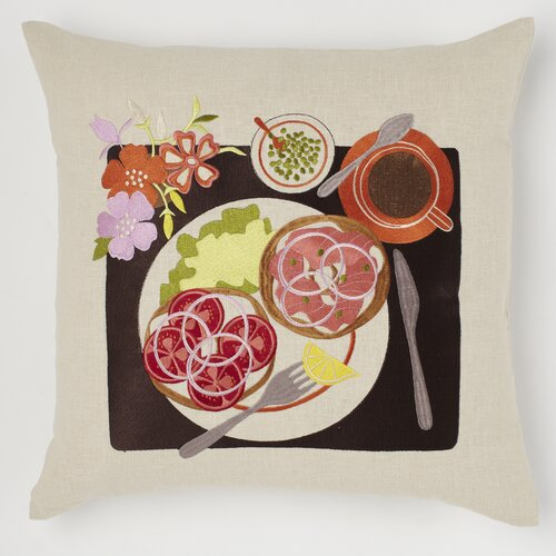 emma at home by Emma Gardner Bagel and Lox Linen Pillow