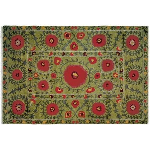 Wildon Home ® Poppies Green Rug