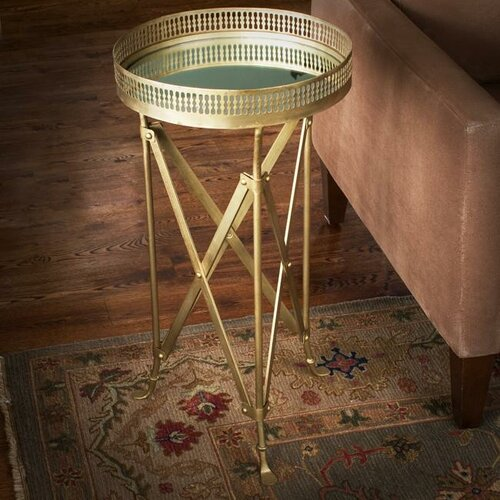 Wildon Home ® Iron and Glass Accordion End Table