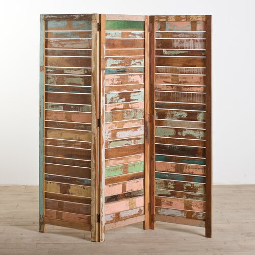 "Wildon Home ® 71"" x 50"" Reclaimed 3 Panel Room Divider"