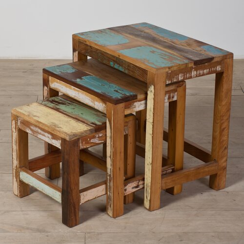 Halebid Stripped 3 Piece Nesting Table