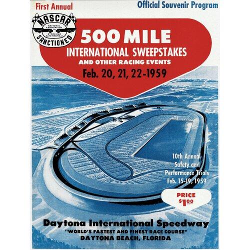 Mounted Memories NASCAR Daytona 500 Program Vintage Advertisement on Canvas