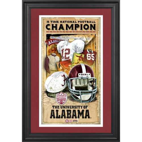 Mounted Memories Alabama Crimson Tide 15-Time National Champions Framed Legacy Print