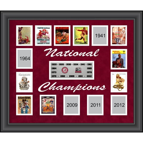 Mounted Memories Alabama Crimson Tide 15-Time National Champions Framed Collage