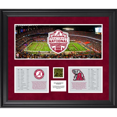 Mounted Memories Alabama Crimson Tide Back to Back BCS National Champions Framed Mini Panoramic Collage