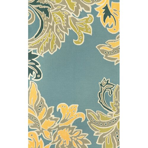 Ravella Water Ornamental Leaf Border Outdoor Rug