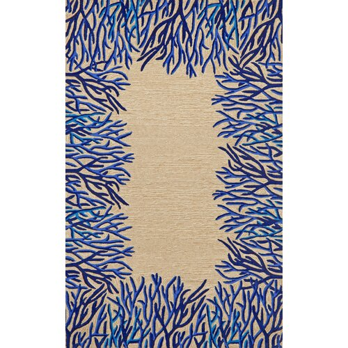 Spello Cobalt Coral Border Outdoor Rug