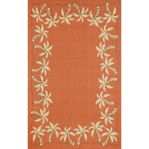 Terrace Terracotta Palmtree Border Indoor/Outdoor Rug