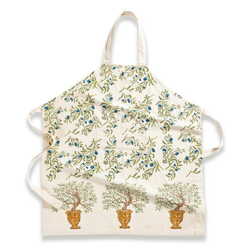 Olive Tree Gold Blue Apron