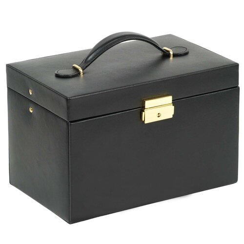 Heritage Chelsea Large Jewelry Case with Three Drawers and Travel Case in Black