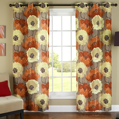 m.style Poppies Poly Duck Cloth Grommet Curtain Panel