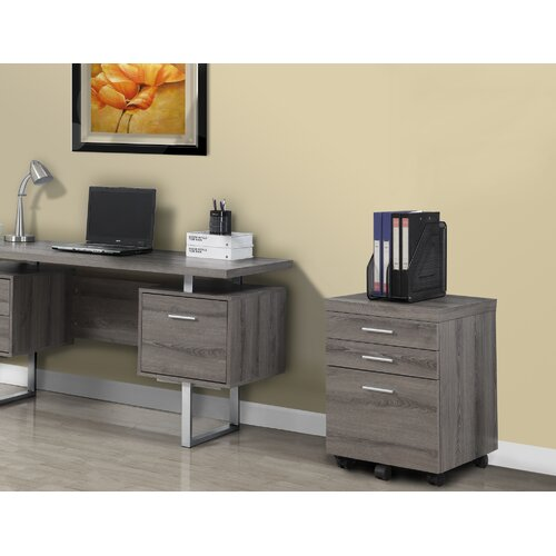 Monarch Specialties Inc 3 Drawer Mobile Reclaimed Look