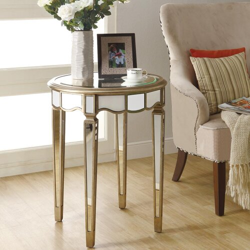 Mirrored Scalloped End Table