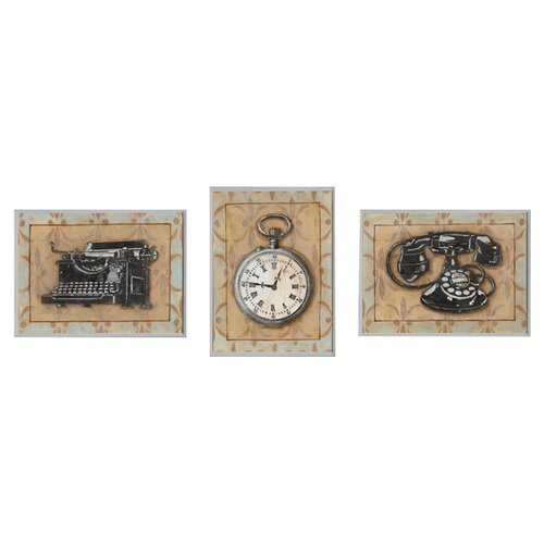 Stupell Industries Stop Watch Typewriter and Rotary Telephone Retro Home Office 3 Piece Graphic Art Plaque Set