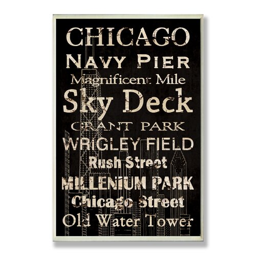 Home Décor Chicago Cities and Words Rectangle Textual Art Plaque