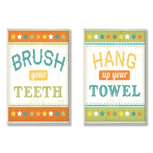 Home Décor Brush Your Teeth and Hang Up Your Towel Bath Duo 2 Piece Textual ...