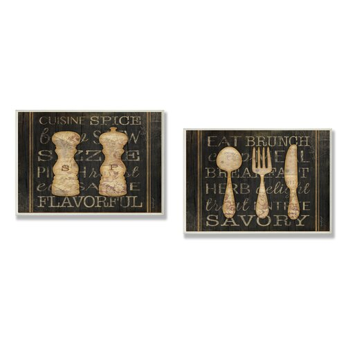 Home Décor Salt Pepper and Utensils Typography Kitchen Duo 2 Piece Graphic Art Plaque Set ...