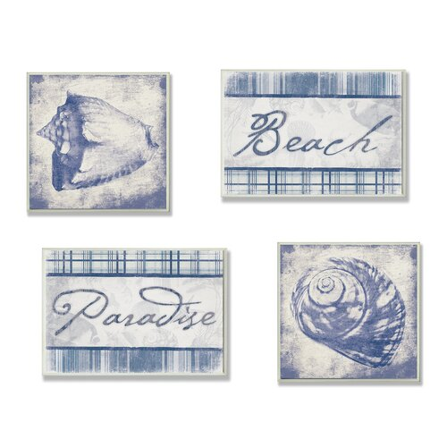 Home Décor Beach, Paradise and Seashells 4 Piece Graphic Art Wood Set