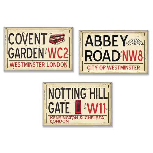 Home Décor London Rail Road Stop Trio 3 Piece Textual Art Plaque Set