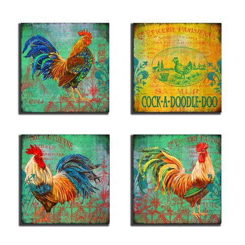 Home Décor Parisian Rooster 4 Piece Graphic Art on Canvas Set