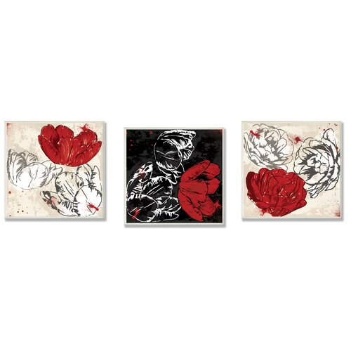 Home Décor Floral Trio 3 Piece Graphic Art Plaque Set