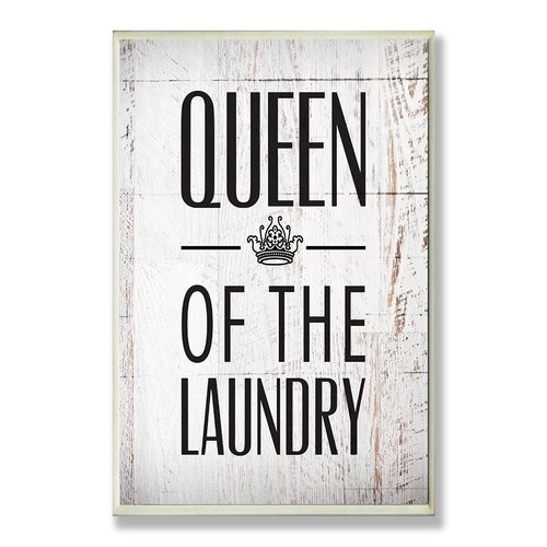 Home Décor Queen of the Laundry with Crown Bath Textual Art Plaque