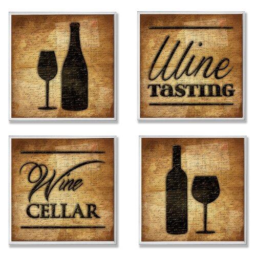 Home Décor Wine Cellar and Tasting 4 Piece Graphic Art Plaque Set