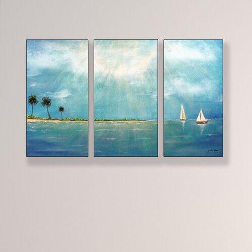 Stupell Industries Home Décor Azure Breeze Triptych 3 Piece Painting Print Set