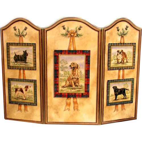 Five Dog 3 Panel MDF Fireplace Screen