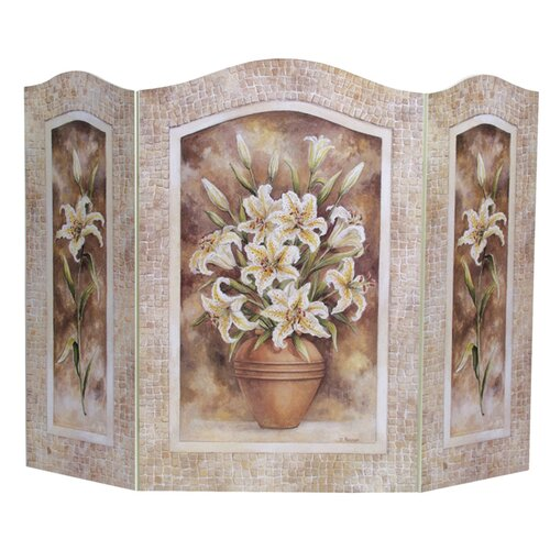 Lily Flower 3 Panel MDF Fireplace Screen