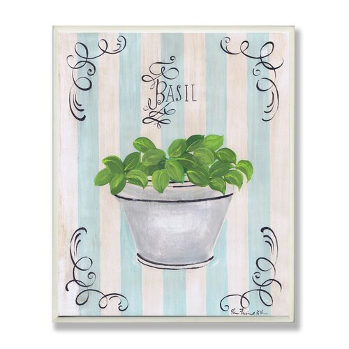 Stupell Industries Green Basil and Thyme in White Pot Kitchen Painting Print Plaque