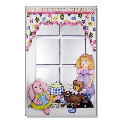 Faux Window Mirror Screen with Doll and Bunny Painting Print