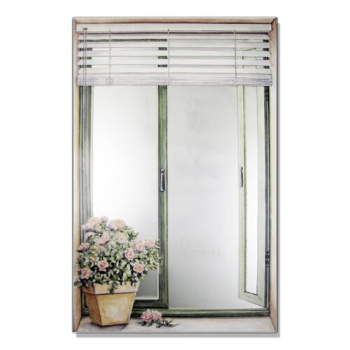 Faux Window Mirror Screen with Blinds and Rose Plant Painting Print