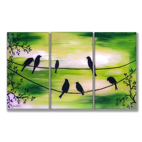 Stupell Industries Home Décor Birds On Wires Triptych 3 Piece Painting Print Set