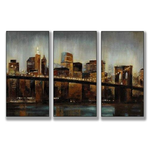 Stupell Industries Home Décor Lights on Bridge Triptych 3 Piece Painting Print Set