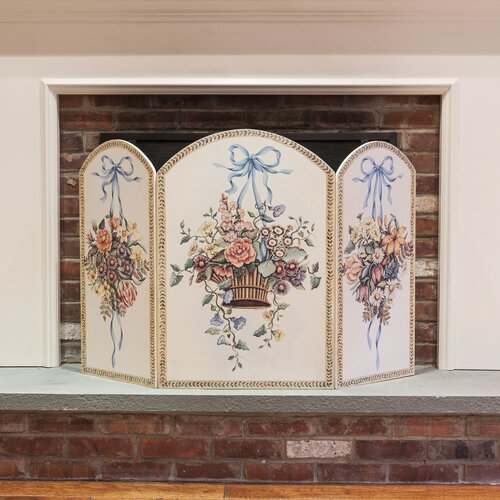 Hanging Basket 3 Panel MDF Fireplace Screen