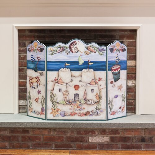 Stupell Industries Beach Scene 3 Panel MDF Fireplace Screen