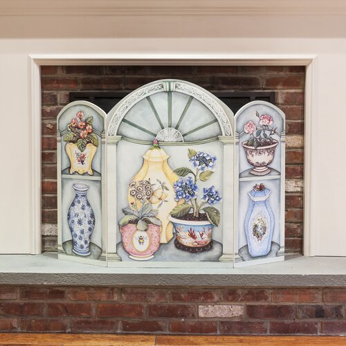 Flower Pots and Vases 3 Panel MDF Fireplace Screen