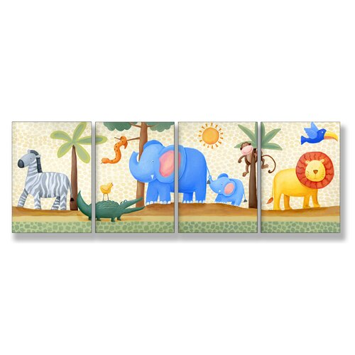 4 Piece Kids Room Triptychs Zebra Elephant Lion Hanging Art Set