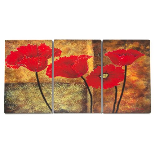 Stupell Industries Home Décor Poppies on Spice Triptych 3 Piece Painting Print Set