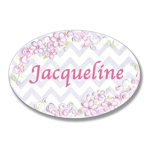 Kids Room Personalization Floral Chevron Wall Plaque
