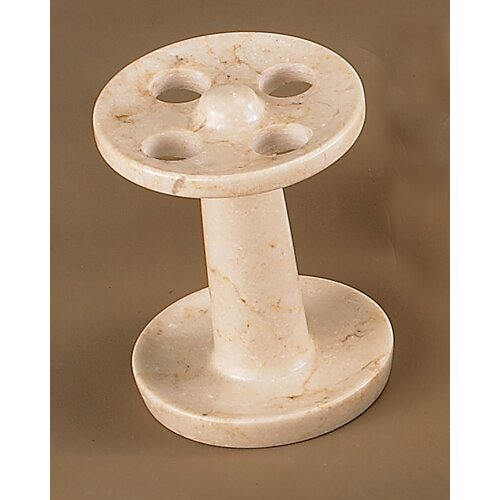 Creative Home Champagne Marble Pedestal Toothbrush Holder