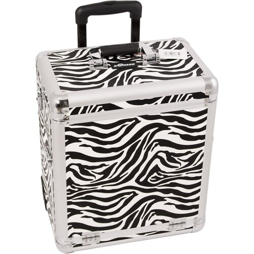 Sunrise Cases Zebra Pattern Interchangeable Professional Rolling Makeup Train Case