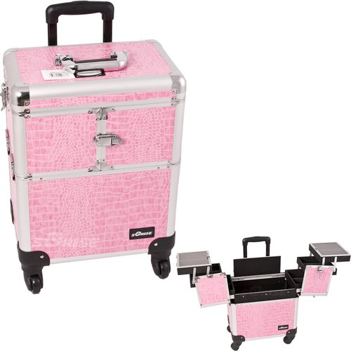 Sunrise Cases Crocodile Pattern Professional Rolling Cosmetic Makeup Train Case