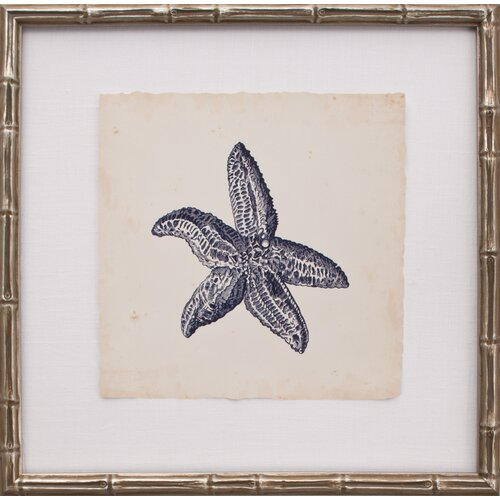 Mirror Image Home Mini Indigo Starfish II Framed Graphic Art