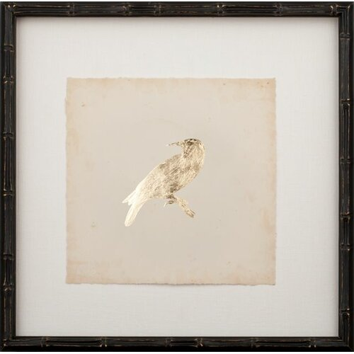 Mirror Image Home Gold Leaf Bird on Archival Paper Framed Graphic Art
