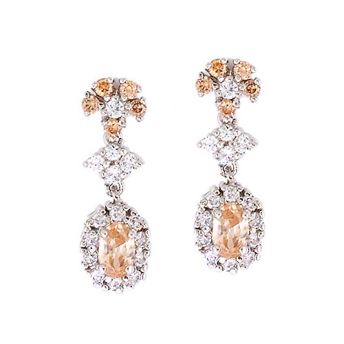 Round Oval Gemstone Diamond Drop Earrings