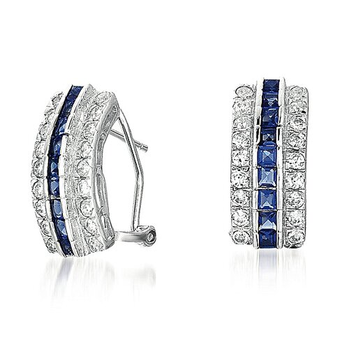 Three Row and Sapphire Earrings