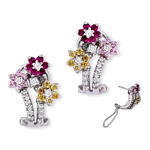 Ruby Pink Sapphire Canary Diamond Flower Earrings